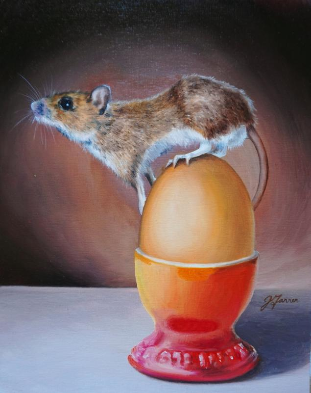 Breakfast Mouse 8x10 oil on boardsm