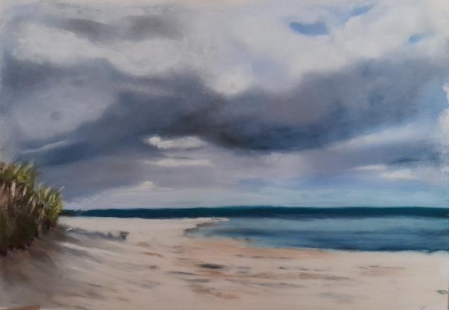 Northumberland Coast-Pastel on Pastel Mat. 20x12cm